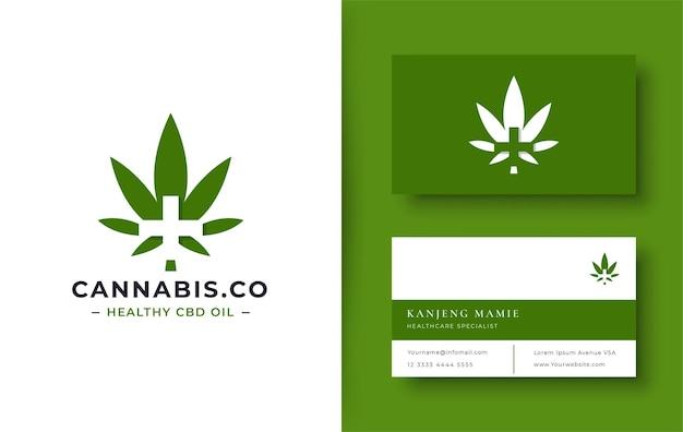 Grünes cannabis-logo mit minimaler visitenkarte