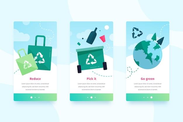 Grünes design für mobile benutzeroberflächen