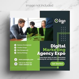 Grünes digitales marketing social media template design für ihr business marketing
