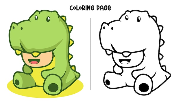 Grünes dinosaurier-cosplay