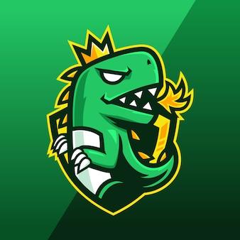 Grünes dinosaurier-maskottchen-logo