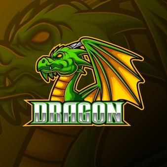 Grünes drachenmaskottchen und sportlogodesign