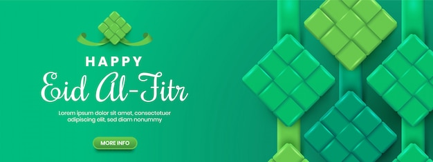 Grünes eid al-fitr ketupat banner