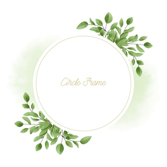 Grünes elegantes aquarellblumen mit goldenem kreisrahmen