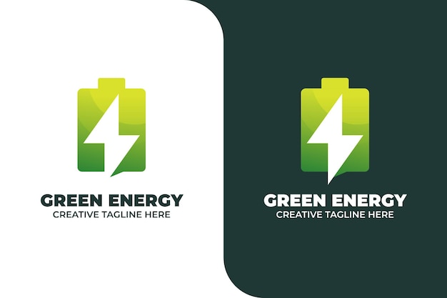 Grünes energie-batterie-farbverlaufs-logo