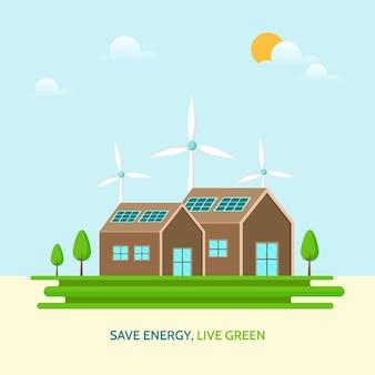 Grünes energiekonzept mit solarstrom