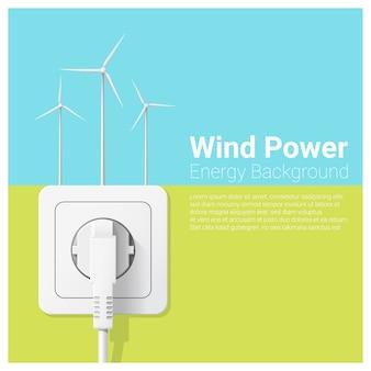 Grünes energiekonzept mit windkraftanlage und elektrischem stecker