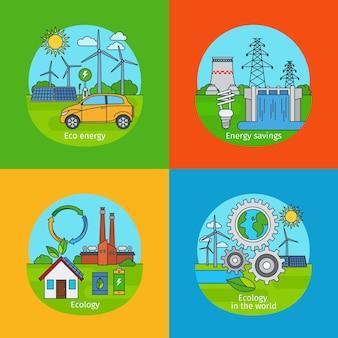 Grünes energiekonzept und ökologie-designkonzept. vektorsymbole für grüne energie energy