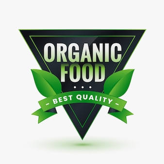 Grünes etikett für bio-lebensmittel von bester qualität mit blättern