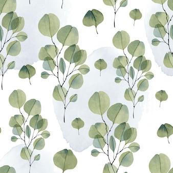 Grünes eukalyptus-aquarell nahtlose mustertapete