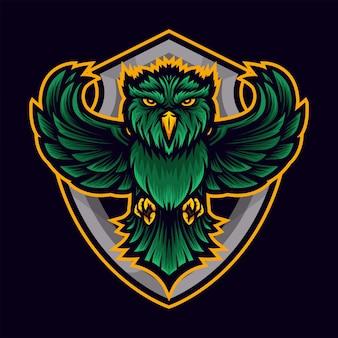 Grünes eulen-sport-logo