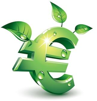 Grünes eurozeichen mit grünen blättern