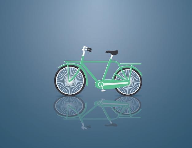 Grünes fahrrad auf dem blauen hintergrund