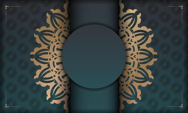 Grünes farbverlaufsbanner mit abstrakter goldverzierung für das design unter ihrem logo oder text