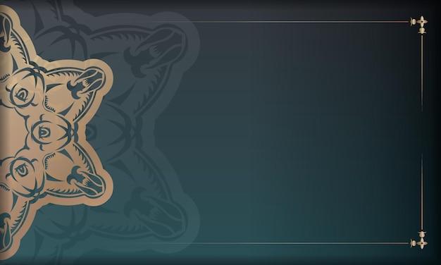 Grünes farbverlaufsbanner mit griechischen goldornamenten und platz für logo oder text