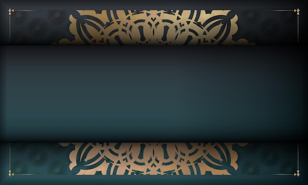 Grünes farbverlaufsbanner mit griechischer goldverzierung für das design unter ihrem logo oder text