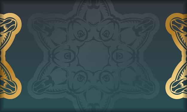 Grünes farbverlaufsbanner mit indischen goldornamenten und platz für logo oder text
