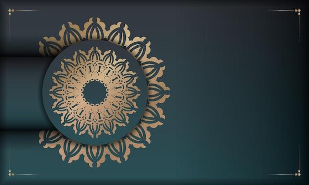 Grünes farbverlaufsbanner mit mandala-goldverzierung für das design unter ihrem logo oder text