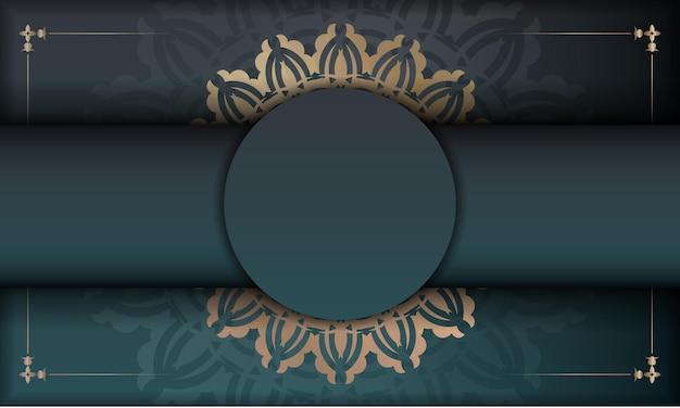 Grünes farbverlaufsbanner mit vintage-goldverzierung für das design unter ihrem logo oder text