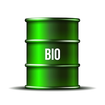 Grünes fass biokraftstoff mit wort bio lokalisiert auf weißem hintergrund, umweltkonzeptentwurf. illustration.