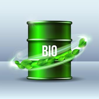 Grünes fass biokraftstoff mit wort bio und grünen blättern, umweltkonzept. illustration.