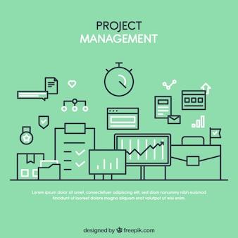Grünes flaches projektverwaltungskonzept