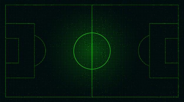 Grünes fußballfeld auf digitalem technologiehintergrund.