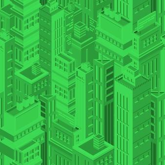 Grünes futuristisches nahtloses muster mit isometrischen städtischen gebäuden und wolkenkratzern der modernen megalopolis. hintergrund mit stadthäusern. matrix-hintergrund. vektorillustration für tapeten.