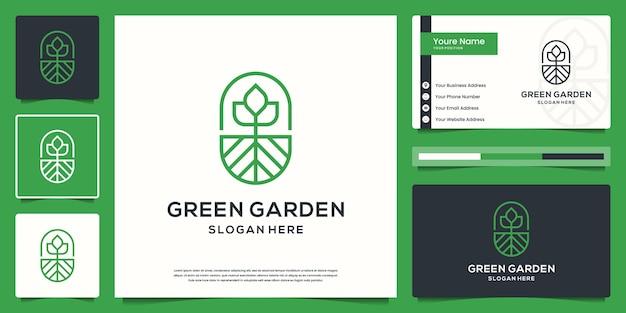 Grünes garten e logo und visitenkartensatz