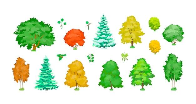 Grünes, gelbes, rotes und schneebedecktes baumset. klee, birke, eiche, kiefer, ahorn mit laub und büschen. naturwald organische pflanzen. ökologie botanik wälder lässt beispiel. vektorkarikatur der botanischen biologiestudie