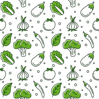 Grünes gemüse gekritzel nahtlose muster vektor hintergrund