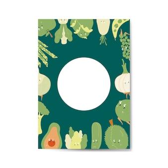 Grünes gemüse und fruchtzeichentrickfilm-figur-rahmenvektor