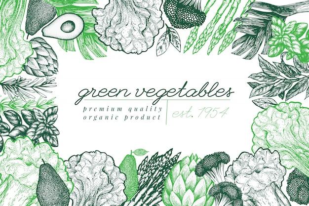 Grünes gemüsehintergrunddesign. hand gezeichnete vektorlebensmittelillustration. gemüserahmen im gravierten stil.