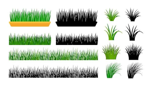 Grünes gras. büsche, frühlingswiese und pflanzen im topf.