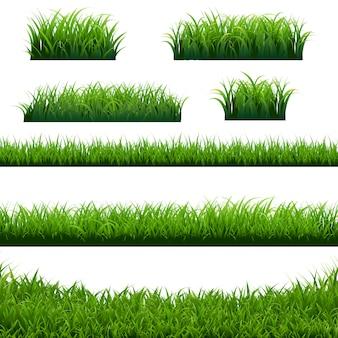 Grünes gras grenzt großes set ein
