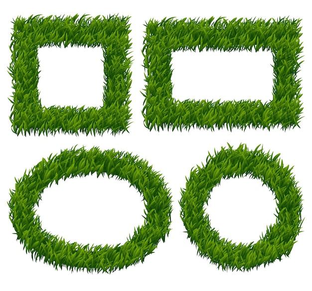 Grünes gras rahmt vektorsatz ein. naturpflanze, kräutermuster, öko-wachstumsgrenze illustration