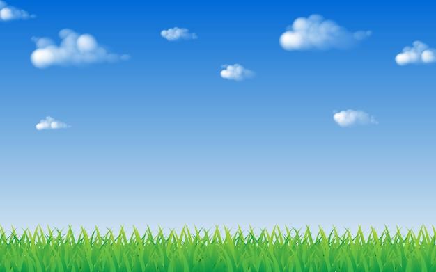 Grünes gras und blauer himmel mit wolken- und kopienraum