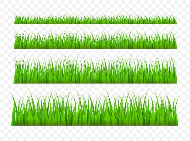 Grünes graswiesenrandmuster. gras hintergrund illustration