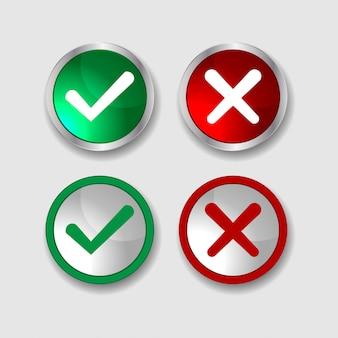 Grünes häkchen und rotes kreuz als symbol für genehmigt und ablehnen