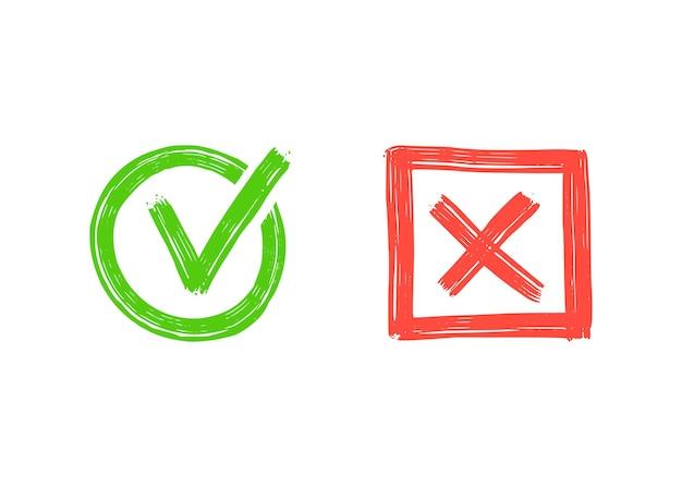 Grünes häkchen und rotes kreuz. handgezeichnete doodle-skizze-stil. abstimmung, ja, kein gezeichnetes konzept. checkbox, kreuzmarkierung mit quadrat, kreiselement. vektor-illustration.