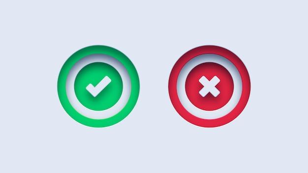 Grünes häkchen und rotes kreuz markieren kreissymbole
