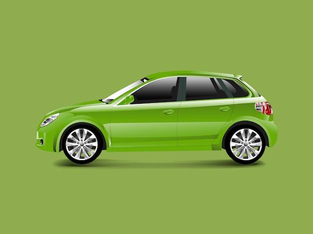 Grünes hatchbackauto in einem grünen hintergrundvektor