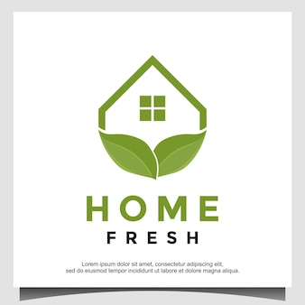 Grünes haus blatt haus logo design inspiration