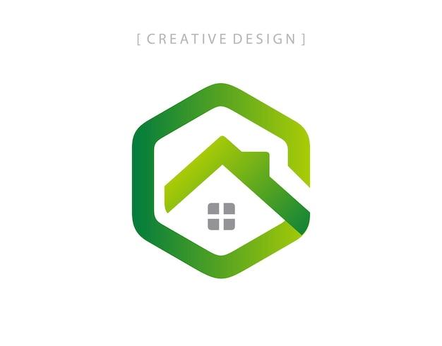 Grünes haus buchstabe g logo symbol design element vorlage.