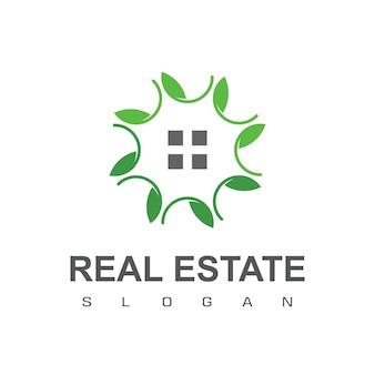 Grünes haus, immobilien-logo