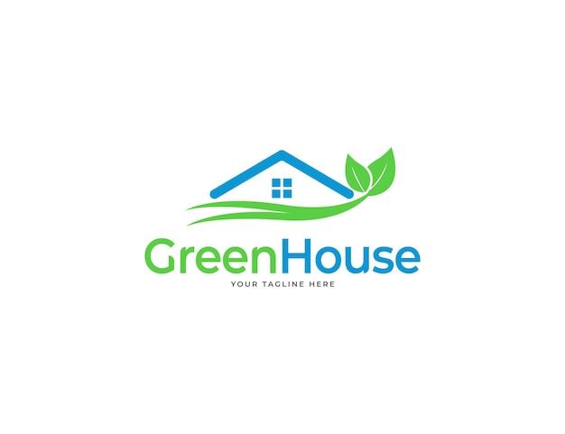 Grünes hauslogo mit dach- und blätterkonzept