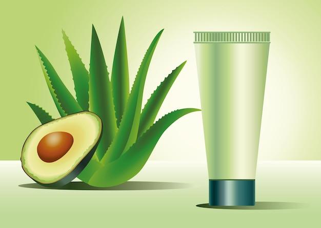 Grünes hautpflegeröhrchenprodukt mit aloe-pflanzen- und avocado-illustration