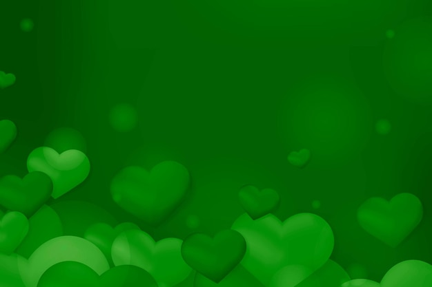 Grünes herz blase bokeh muster hintergrund