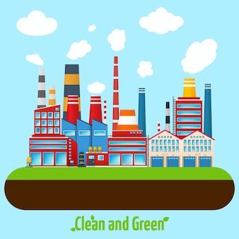 Grünes industrie-plakat
