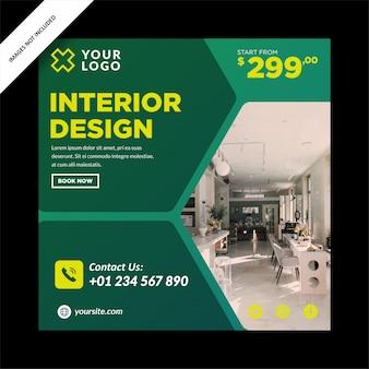 Grünes innendesign-banner für social media post